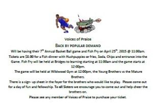 VOP Basketball & Fish Fry @ Fish fry 820 20th St South