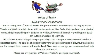 Voices of Praise Fish Fry & Basketball Game @ Fish fry 820 20th St South